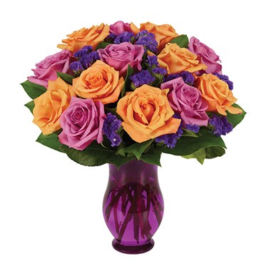 Purple & Orange Rose Bouquet (BF237-11)